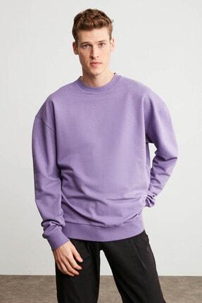 GRIMELANGE KANYE Erkek Mor Renk Bisiklet Yaka Oversize Sweatshirt 2