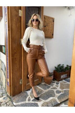 Simoki moda Kadın Kalın Kemerli Suni Deri Pantolon 0