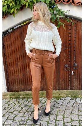Simoki moda Kadın Kalın Kemerli Suni Deri Pantolon 1
