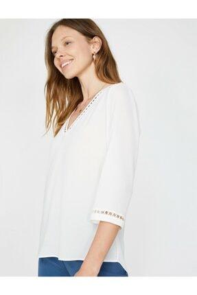 Koton Kadın Dantel Detaylı V Yaka Bluz 0