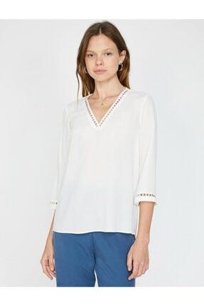 Koton Kadın Dantel Detaylı V Yaka Bluz 2