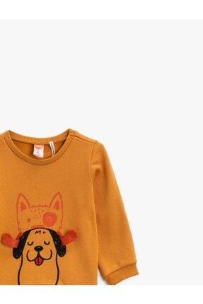 Koton Erkek Bebek Kahverengi Pamuklu Uzun Kollu Bisiklet Yaka Baskılı Sweatshirt 2