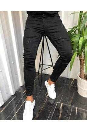 moda biz Erkek Siyah Jean Italyan Kesim Denım Kot Pantolon 0