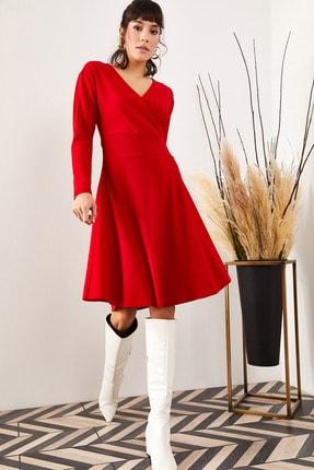 Olalook Kadın Kırmızı Kruvaze Elbise ELB-19000943 0