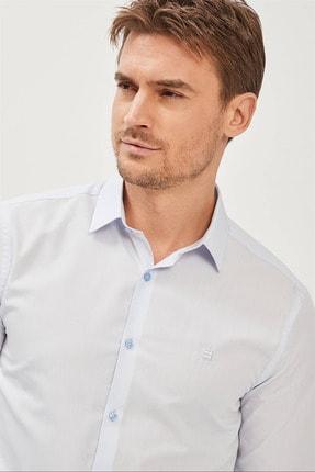 Avva Erkek Mavi Düz Klasik Yaka Slim Fit Gömlek E002002 1