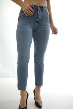 FoRaveGa Kadın Yüksek Bel Düz Paça Boyfit Jean Pantolon 3