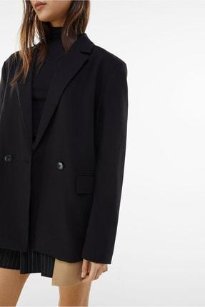 Bershka Kadın Siyah Dökümlü Düğmeli Blazer 2
