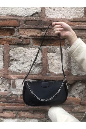SWAN BOUTIQUE Kadın Siyah Ince Zincirli Baget Çanta 0