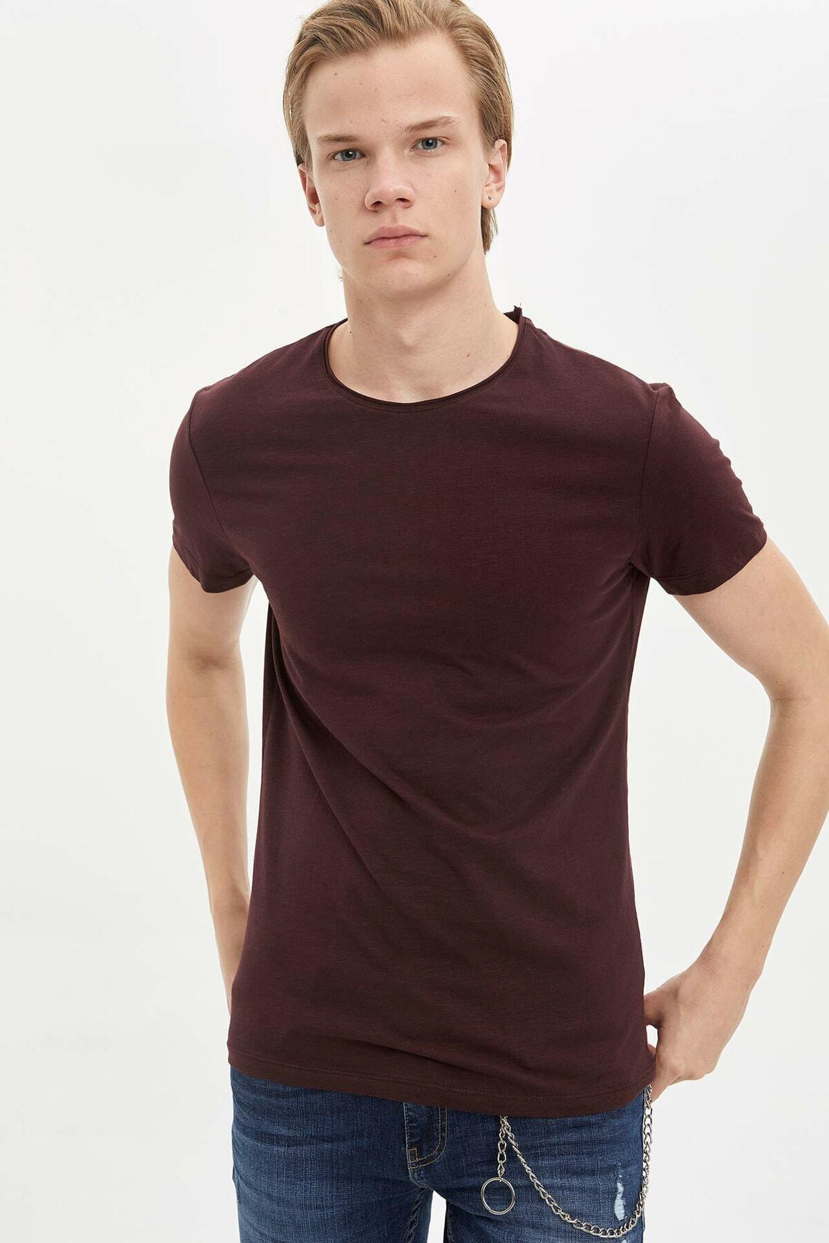 Erkek Bordo Basic Slim Fit T-Shirt