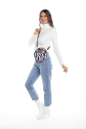 Madamra Aynı Butikte 2.Ürün 1 TL Zebra Desenli Kadın Yuvarlak Omuz Çantası 4
