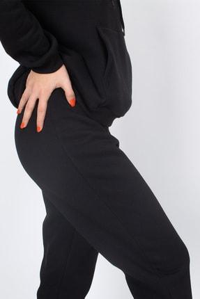 S&B Tekstil Kadın Siyah Paçası Lastikli Eşofman Altı 1
