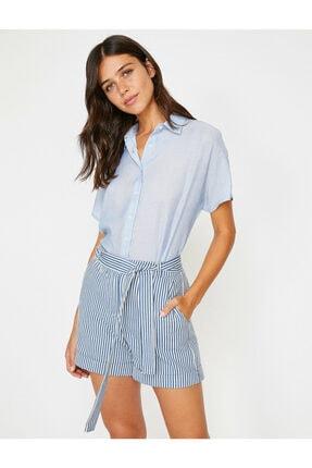 Koton Kadın Lacivert Klasik Yaka Çizgili Gömlek 8YAK62165CW 0