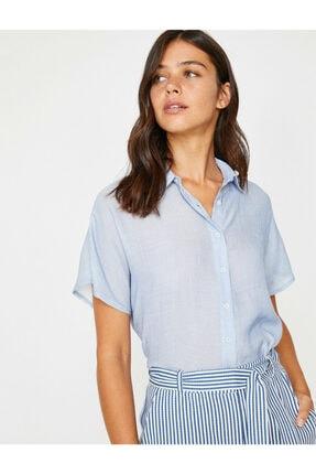 Koton Kadın Lacivert Klasik Yaka Çizgili Gömlek 8YAK62165CW 2