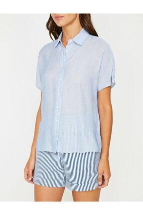 Koton Kadın Lacivert Klasik Yaka Çizgili Gömlek 8YAK62165CW 3