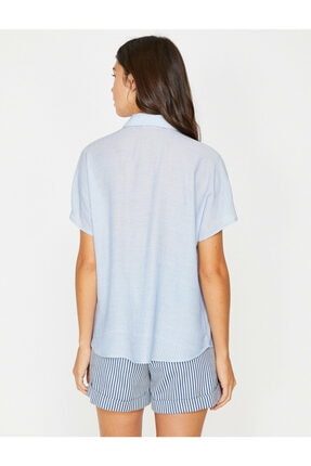 Koton Kadın Lacivert Klasik Yaka Çizgili Gömlek 8YAK62165CW 4