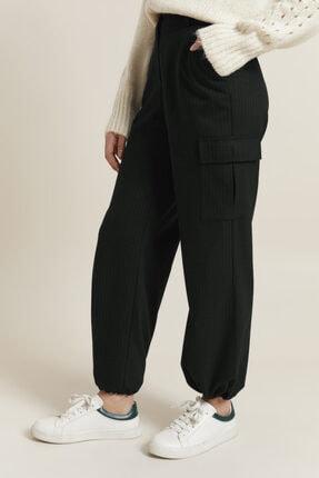 adL Kadın Yeşil Kargo Cepli Çizgili Pantolon 3