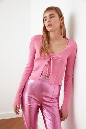 TRENDYOLMİLLA Pembe Bağlama Detaylı Hırka Bluz Triko Takım TWOSS21HI0002 1