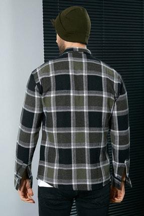 Sateen Men Erkek Haki-Siyah Oduncu Gömlek 2