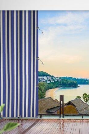 ALTINPAMUK Her Ölçüde Enxboy Seçenekli Bağcıklı Balkon Perdesi Balkon Brandası Mavi Beyaz 0