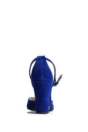 PUNTO Kadın  Mavi Süet Günlük Topuklu Ayakkabı 642437 4