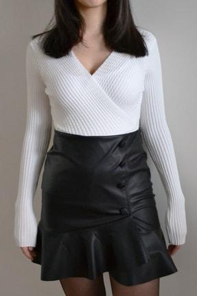 Kadın Beyaz Kruvaze Yaka Bluz 12502