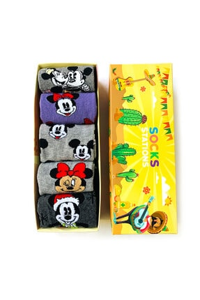 Socks Stations Mouse Renkli Desenli Çorap Kutusu 5'li 1