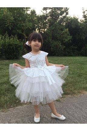 MiniBal Beyaz Pul Payet Tütülü Kız Çocuk Parti Elbisesi 0