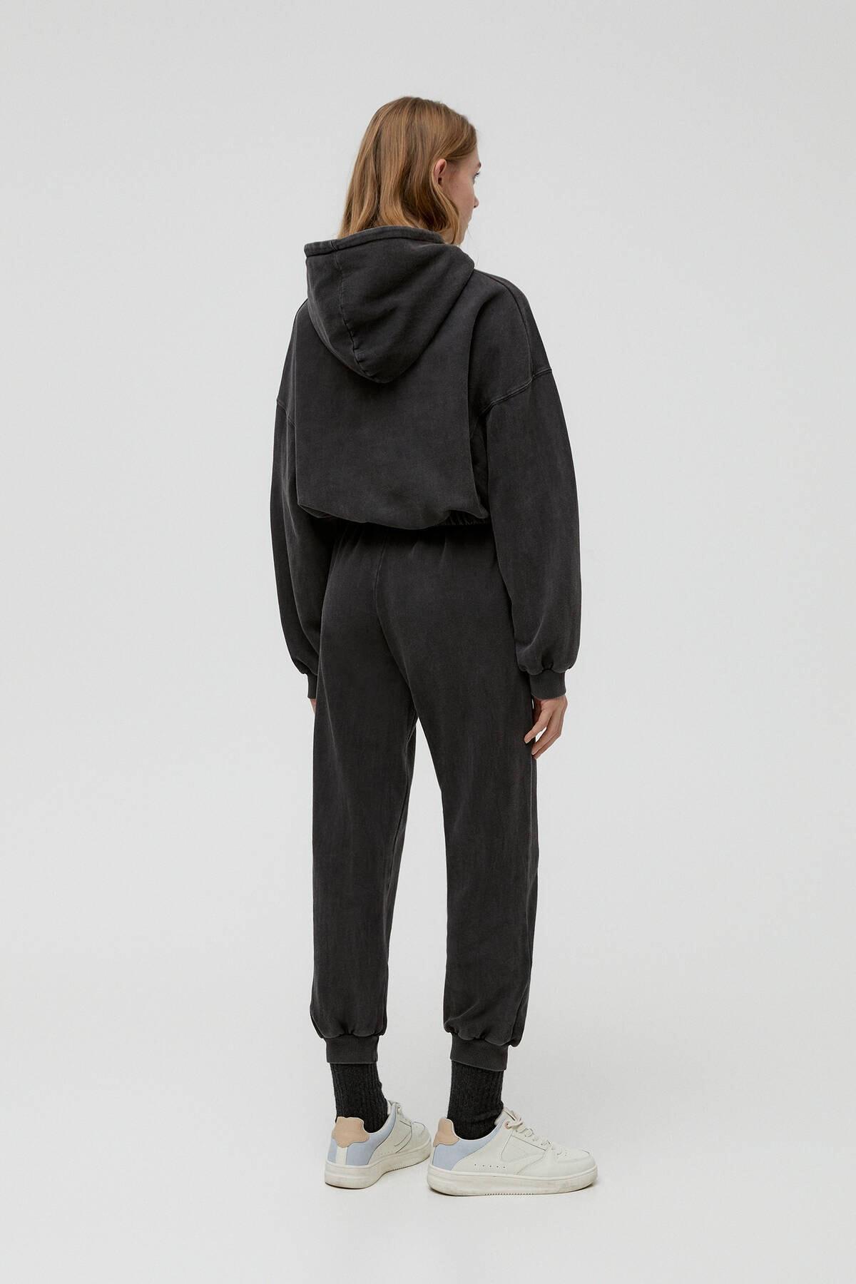 Pull & Bear Kadın Soluk Siyah Malibusweatshirt 04591340 3