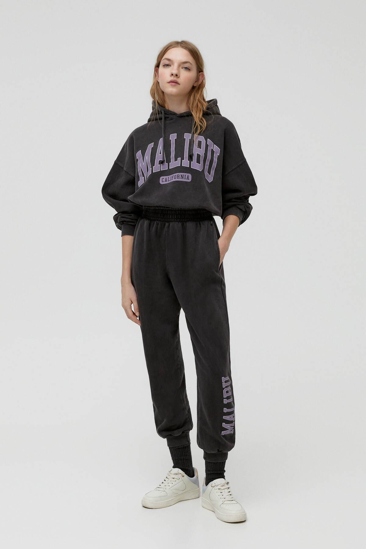 Pull & Bear Kadın Soluk Siyah Miami Sloganlı Jogging Fit Pantolon 04677303 0