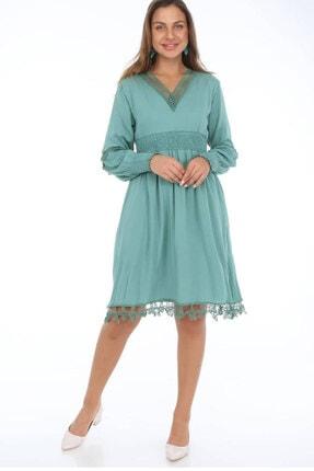 Kadın Yeşil Dantel Detay Mercan Fisto Elbise ELBISEDELISI-0042