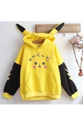öz taha Kadın Sarı Pikachu Sweatshirt 0