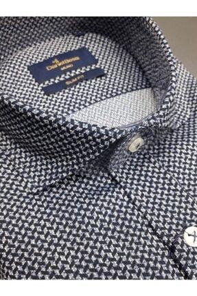 Daniel Bessi Lacivert Slim Fit Italyan Yaka Uzun Kollu Gömlek 0