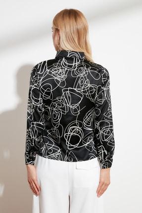 TRENDYOLMİLLA Siyah Baskılı Gömlek TWOSS21GO0038 3