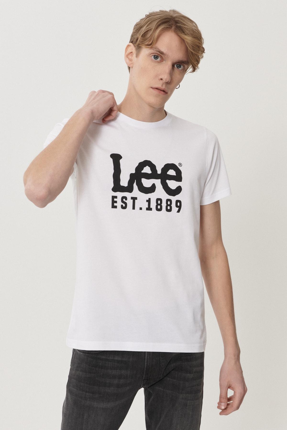 Lee Erkek Beyaz Regular Fit Bisiklet Yaka T-Shirt 2