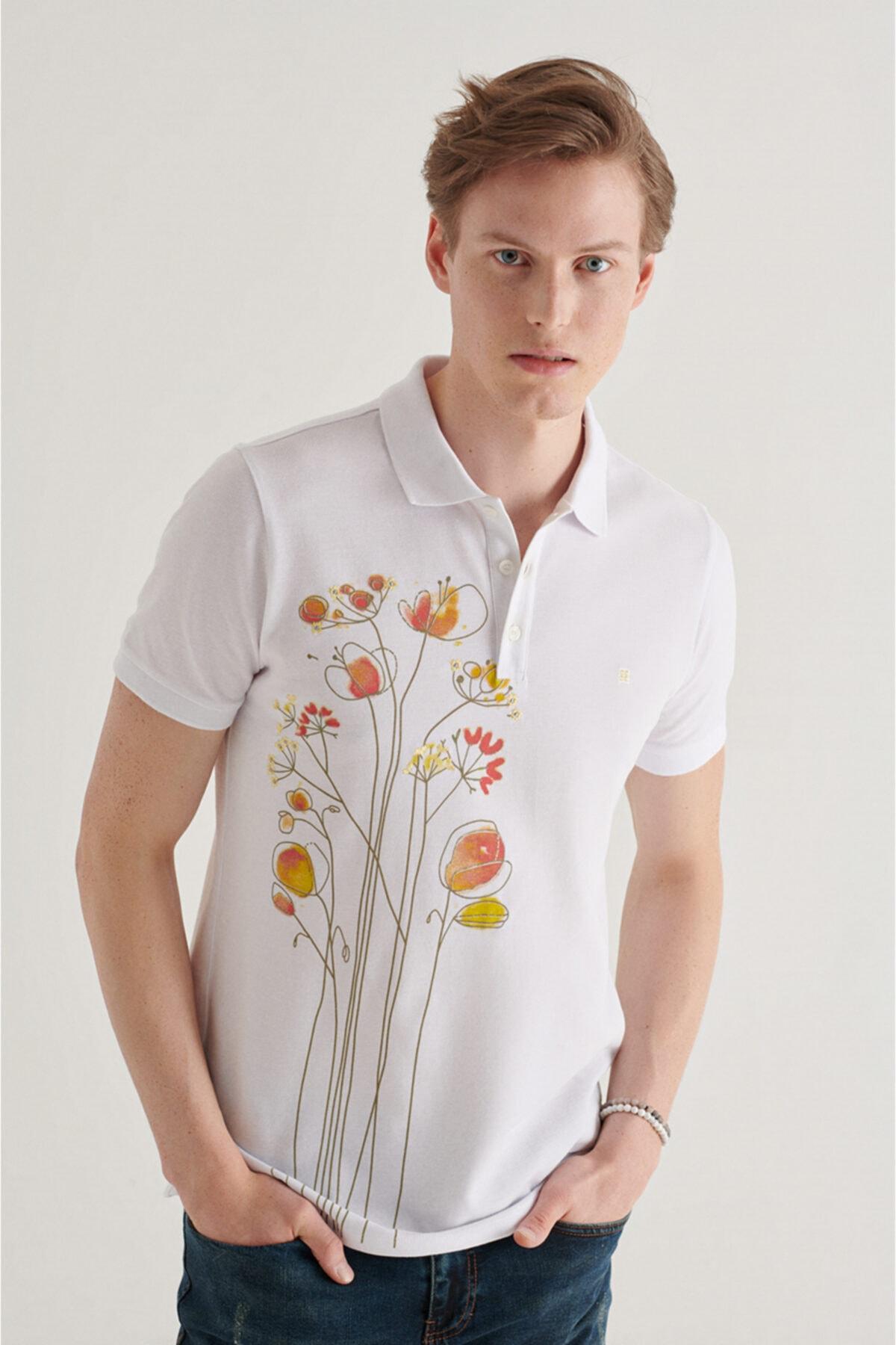 Erkek Beyaz Polo Yaka Baskılı T-shirt A11y1081