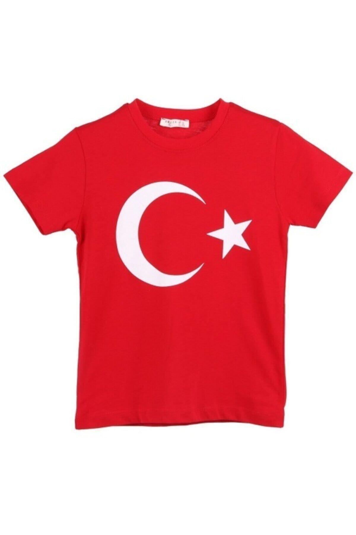 Çocuk Kırmızı Türk Bayraklı T-shirt