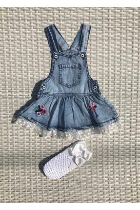 İLAYDA BABY STORE Kadın  Mavi Işlemeli Tüllü Kot Jile File Çorap Takım 0