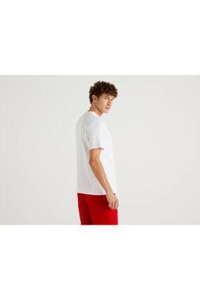 Benetton Erkek Beyaz Snoopy Cep Detaylı T-Shirt 1