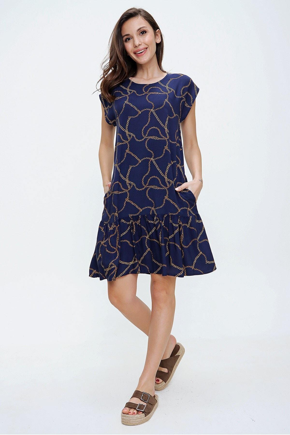Kadın Lacivert Düşük Kol Zincir Desenli Fırfırlı Viskon Elbise S-20Y3080100