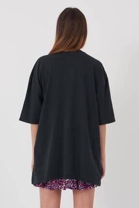 Addax Kadın Füme Baskılı Oversize T-Shirt P9407 - T8 Adx-0000022025 4