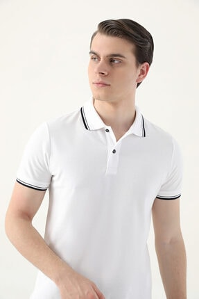 D'S Damat Ds Damat Slim Fit Beyaz Pike Dokulu T-shirt 0