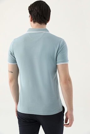 D'S Damat Erkek Yeşil Slim Fit Mint Pike Dokulu T-shirt 3