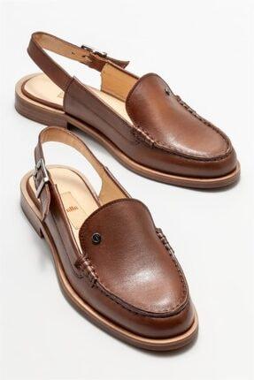 Elle Kadın Taba Deri Düz Ayakkabı 1
