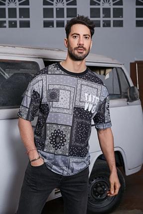 Sateen Men Erkek Siyah Dijital Baskılı T-Shirt 1