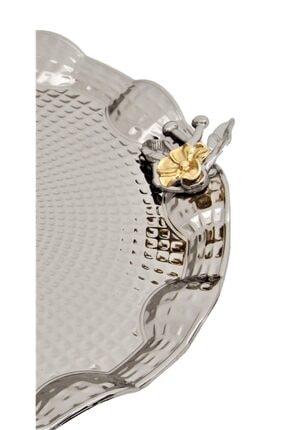 Dalgıç Gümüş Tek Kişilik Japon Güllü Sunumluk Gümüş Renk Tepsi 1