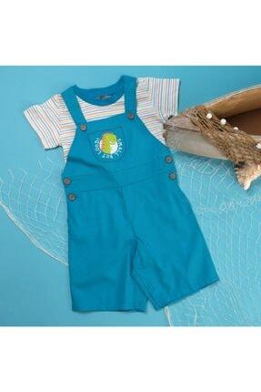 Picture of Erkek Bebek Mavi Dinozor Adası Poplin Kısa Kol Reçme Bisiklet Yaka 2 li Salopet