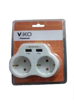 VİKO Beyaz 2'li Topraklı ve 2,1 Amper 2 Usb Çıkışlı Fiş Priz Hızlı Şarj Cihazı 0