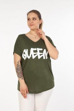 تصویر از Kadın Haki V Queen Baskılı Büyük Beden Bluz