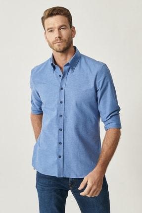 Altınyıldız Classics Erkek K.MAVI Düğmeli Yaka Tailored Slim Fit Oxford Gömlek 2