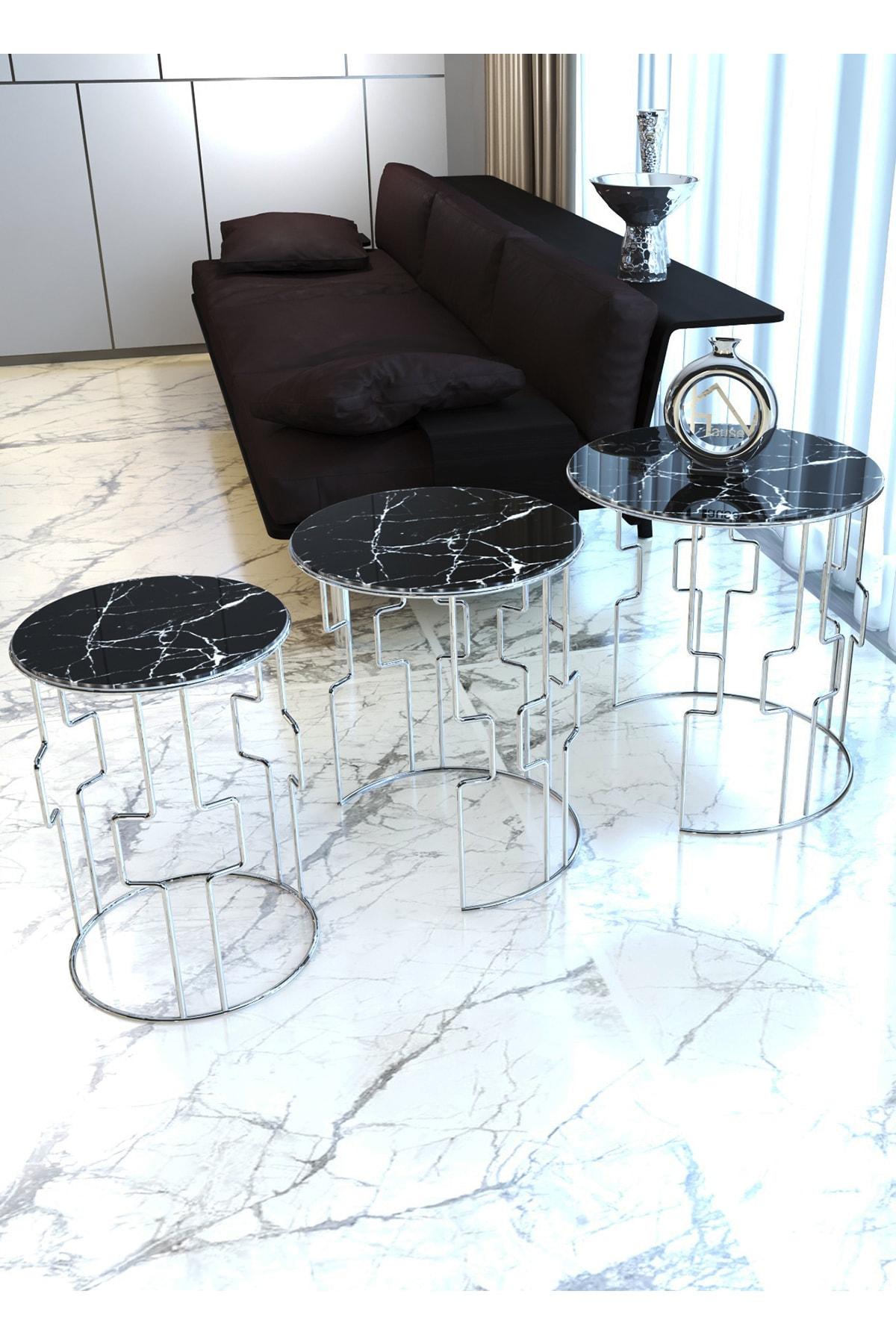 HAUSEV Siyah Işıltı Kare Model Gümüş Metal Zigon Sehpa